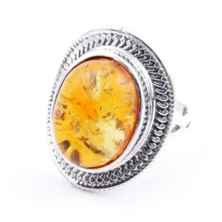 58207-12 ADJUSTABLE 24 X 19 MM SILVER RING WITH STONE IN AMBER