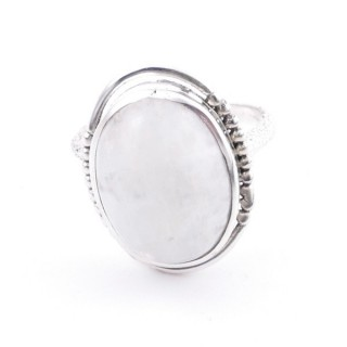 58208-05 ADJUSTABLE 20 X 16 MM SILVER RING WITH MOONSTONE