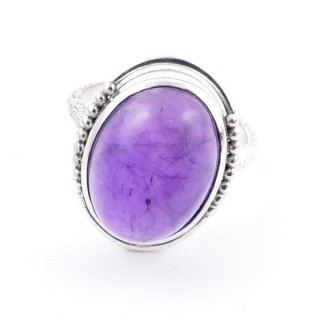 58208-06 ADJUSTABLE 20 X 16 MM SILVER RING WITH STONE IN AMETHYST