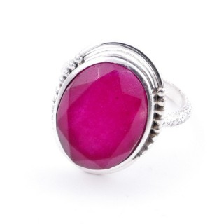 58208-09 ADJUSTABLE 20 X 16 MM SILVER RING WITH STONE IN RUBY