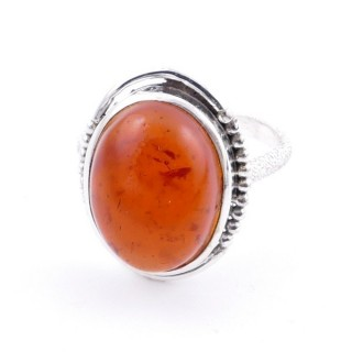 58208-12 ADJUSTABLE 20 X 16 MM SILVER RING WITH STONE IN AMBER