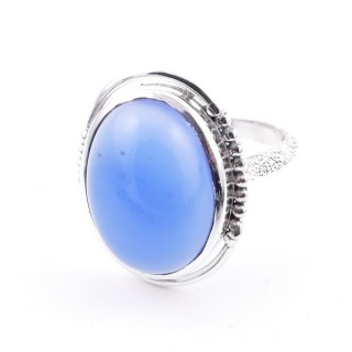 58208-15 ADJUSTABLE 20 X 16 MM SILVER RING WITH STONE IN BLUE ONYX