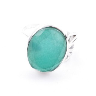 58209-03 ADJUSTABLE 18 X 14 MM SILVER RING WITH STONE IN EMERALD