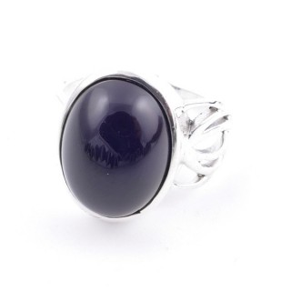 58209-04 ADJUSTABLE 18 X 14 MM SILVER RING WITH STONE IN ONYX