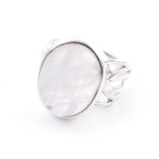 58209-05 ADJUSTABLE 18 X 14 MM SILVER RING WITH MOONSTONE