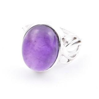 58209-06 ADJUSTABLE 18 X 14 MM SILVER RING WITH STONE IN AMETHYST