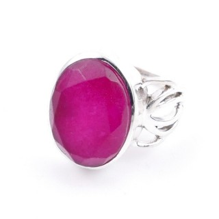 58209-09 ADJUSTABLE 18 X 14 MM SILVER RING WITH STONE IN RUBY