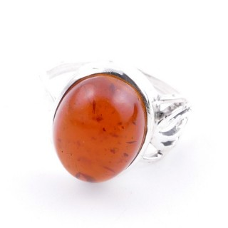58209-12 ADJUSTABLE 18 X 14 MM SILVER RING WITH STONE IN AMBER