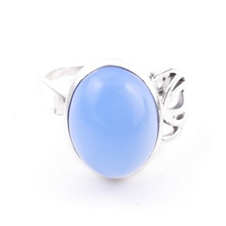 58209-15 ADJUSTABLE 18 X 14 MM SILVER RING WITH STONE IN BLUE ONYX