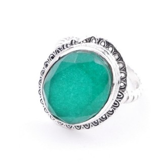 58210-03 ADJUSTABLE 21 X 17 MM SILVER RING WITH STONE IN EMERALD