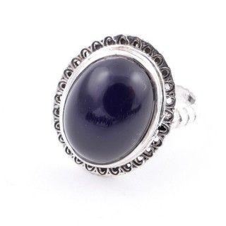 58210-04 ADJUSTABLE 21 X 17 MM SILVER RING WITH STONE IN ONYX