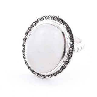 58210-05 ADJUSTABLE 21 X 17 MM SILVER RING WITH MOONSTONE