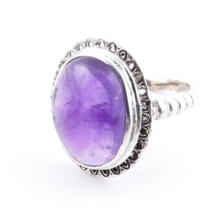 58210-06 ADJUSTABLE 21 X 17 MM SILVER RING WITH STONE IN AMETHYST