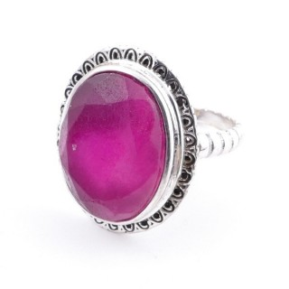 58210-09 ADJUSTABLE 21 X 17 MM SILVER RING WITH STONE IN RUBY