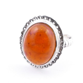 58210-12 ADJUSTABLE 21 X 17 MM SILVER RING WITH STONE IN AMBER