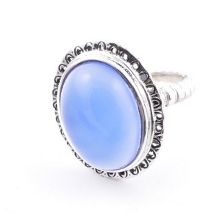 58210-15 ADJUSTABLE 21 X 17 MM SILVER RING WITH STONE IN BLUE ONYX
