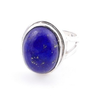 58211-02 ADJUSTABLE 19 X 15 MM SILVER RING WITH STONE IN LAPIS LAZULI