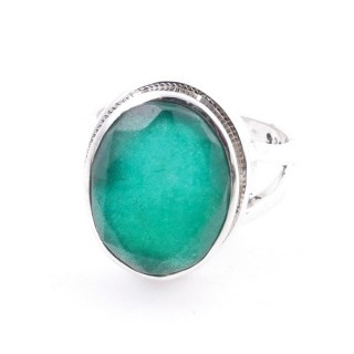 58211-03 ADJUSTABLE 19 X 15 MM SILVER RING WITH STONE IN EMERALD