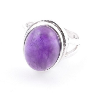 58211-06 ADJUSTABLE 19 X 15 MM SILVER RING WITH STONE IN AMETHYST