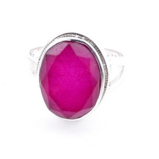 58211-09 ADJUSTABLE 19 X 15 MM SILVER RING WITH STONE IN RUBY