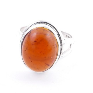58211-12 ADJUSTABLE 19 X 15 MM SILVER RING WITH STONE IN AMBER