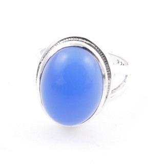 58211-15 ADJUSTABLE 19 X 15 MM SILVER RING WITH STONE IN BLUE ONYX