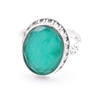 58212-03 ADJUSTABLE 20 X 16 MM SILVER RING WITH STONE IN EMERALD