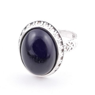 58212-04 ADJUSTABLE 20 X 16 MM SILVER RING WITH STONE IN ONYX