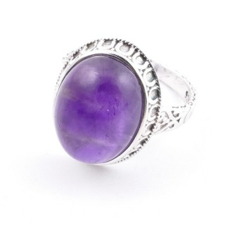 58212-06 ADJUSTABLE 20 X 16 MM SILVER RING WITH STONE IN AMETHYST