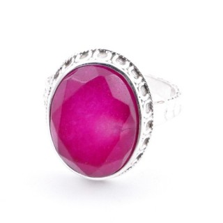 58212-09 ADJUSTABLE 20 X 16 MM SILVER RING WITH STONE IN RUBY