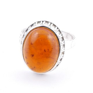 58212-12 ADJUSTABLE 20 X 16 MM SILVER RING WITH STONE IN AMBER
