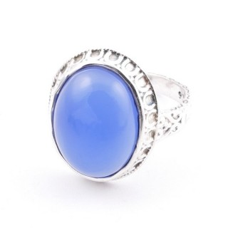 58212-15 ADJUSTABLE 20 X 16 MM SILVER RING WITH STONE IN BLUE ONYX