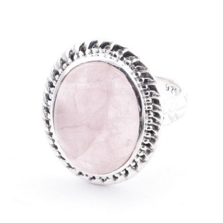 58213-01 ADJUSTABLE 21 X 17 MM SILVER RING WITH STONE IN ROSE QUARTZ