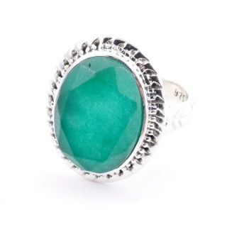 58213-03 ADJUSTABLE 21 X 17 MM SILVER RING WITH STONE IN EMERALD