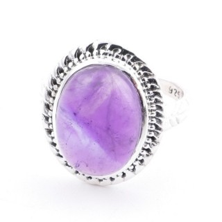 58213-06 ADJUSTABLE 21 X 17 MM SILVER RING WITH STONE IN AMETHYST