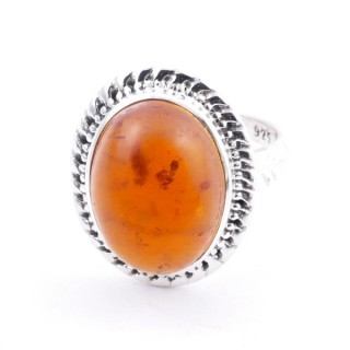 58213-12 ADJUSTABLE 21 X 17 MM SILVER RING WITH STONE IN AMBER
