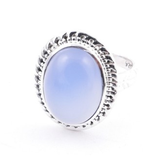 58213-15 ADJUSTABLE 21 X 17 MM SILVER RING WITH STONE IN BLUE ONYX