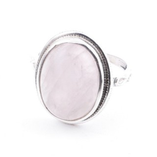 58214-01 ADJUSTABLE 19 X 16 MM SILVER RING WITH STONE IN ROSE QUARTZ