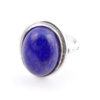 58214-02 ADJUSTABLE 19 X 16 MM SILVER RING WITH STONE IN LAPIS LAZULI