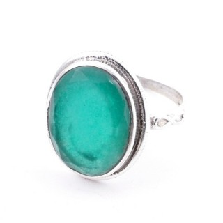 58214-03 ADJUSTABLE 19 X 16 MM SILVER RING WITH STONE IN EMERALD