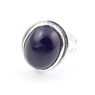 58214-04 ADJUSTABLE 19 X 16 MM SILVER RING WITH STONE IN ONYX