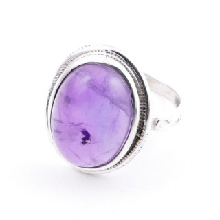 58214-06 ADJUSTABLE 19 X 16 MM SILVER RING WITH STONE IN AMETHYST