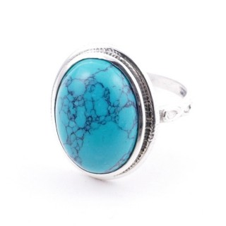 58214-07 ADJUSTABLE 19 X 16 MM SILVER RING WITH STONE IN TURQUOISE