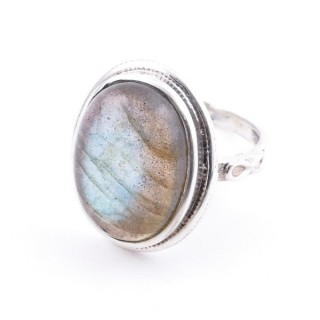 58214-08 ADJUSTABLE 19 X 16 MM SILVER RING WITH STONE IN LABRADORITE