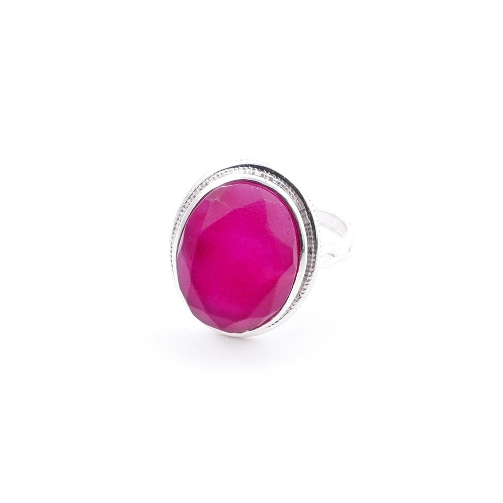 58214-09 ADJUSTABLE 19 X 16 MM SILVER RING WITH STONE IN RUBY