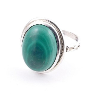 58214-10 ADJUSTABLE 19 X 16 MM SILVER RING WITH STONE IN MALACHITE