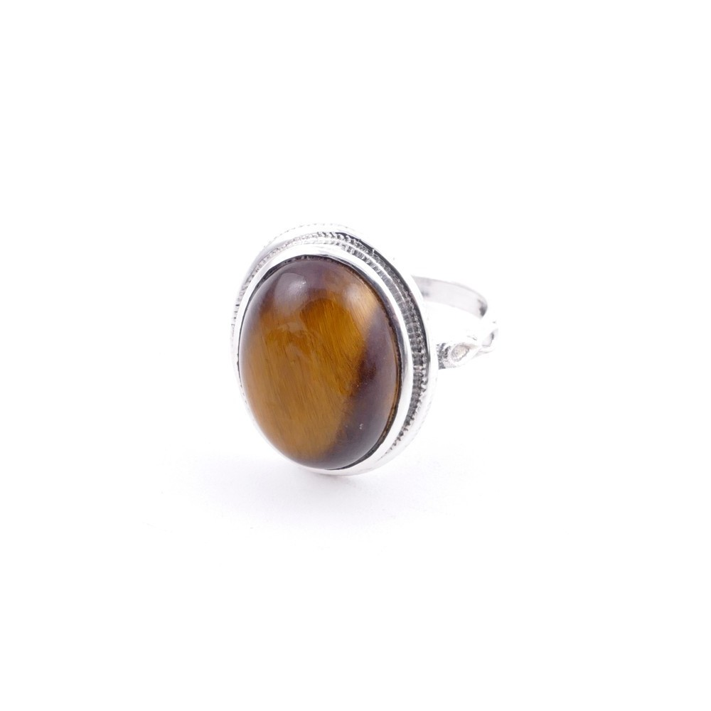 58214-11 ADJUSTABLE 19 X 16 MM SILVER RING WITH STONE IN TIGER'S EYE