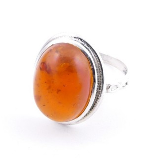 58214-12 ADJUSTABLE 19 X 16 MM SILVER RING WITH STONE IN AMBER