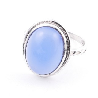 58214-15 ADJUSTABLE 19 X 16 MM SILVER RING WITH STONE IN BLUE ONYX