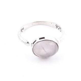 58200-01 ADJUSTABLE 10 X 12 MM SILVER RING WITH STONE IN ROSE QUARTZ